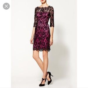 NWT milly New York 4 Black pink Stella lace dress